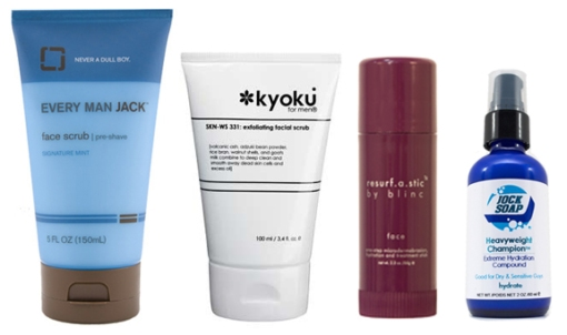 From left to right: Every Man Jack, kyoku for men, blinc resurf.a.stic and Jock Soap